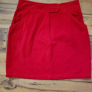 Red velvety skirt